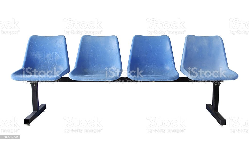 blue plastic chairs (clipping path) stock photo