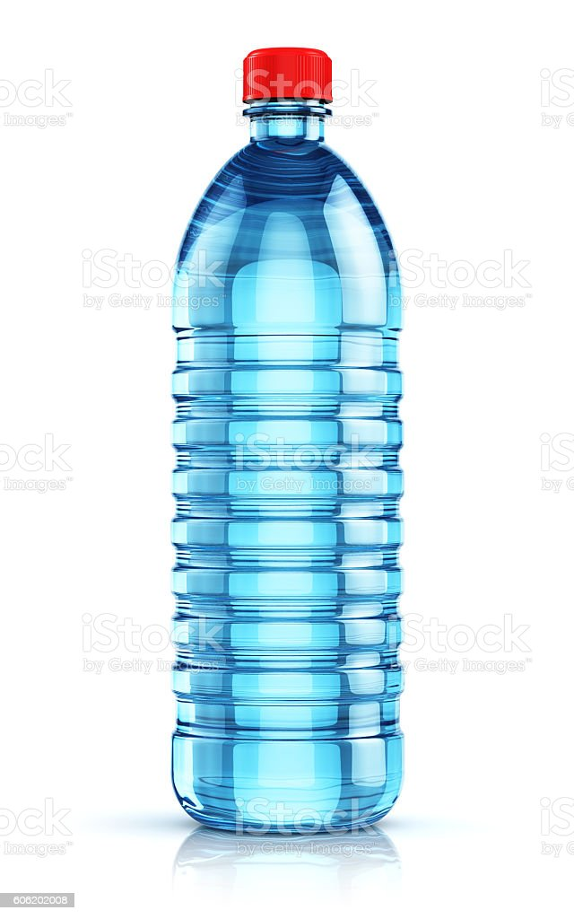 Blue plastic drink water bottle stock photo
