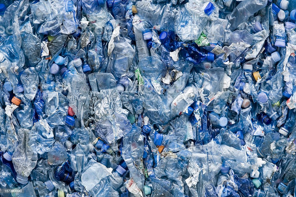 blue plastic garbage stock photo