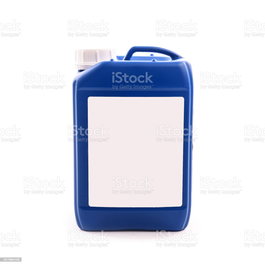 blue plastic jerry can isolated on a white background stock photo