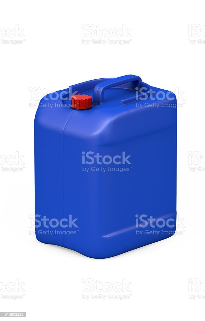 Blue plastic jerry can stock photo