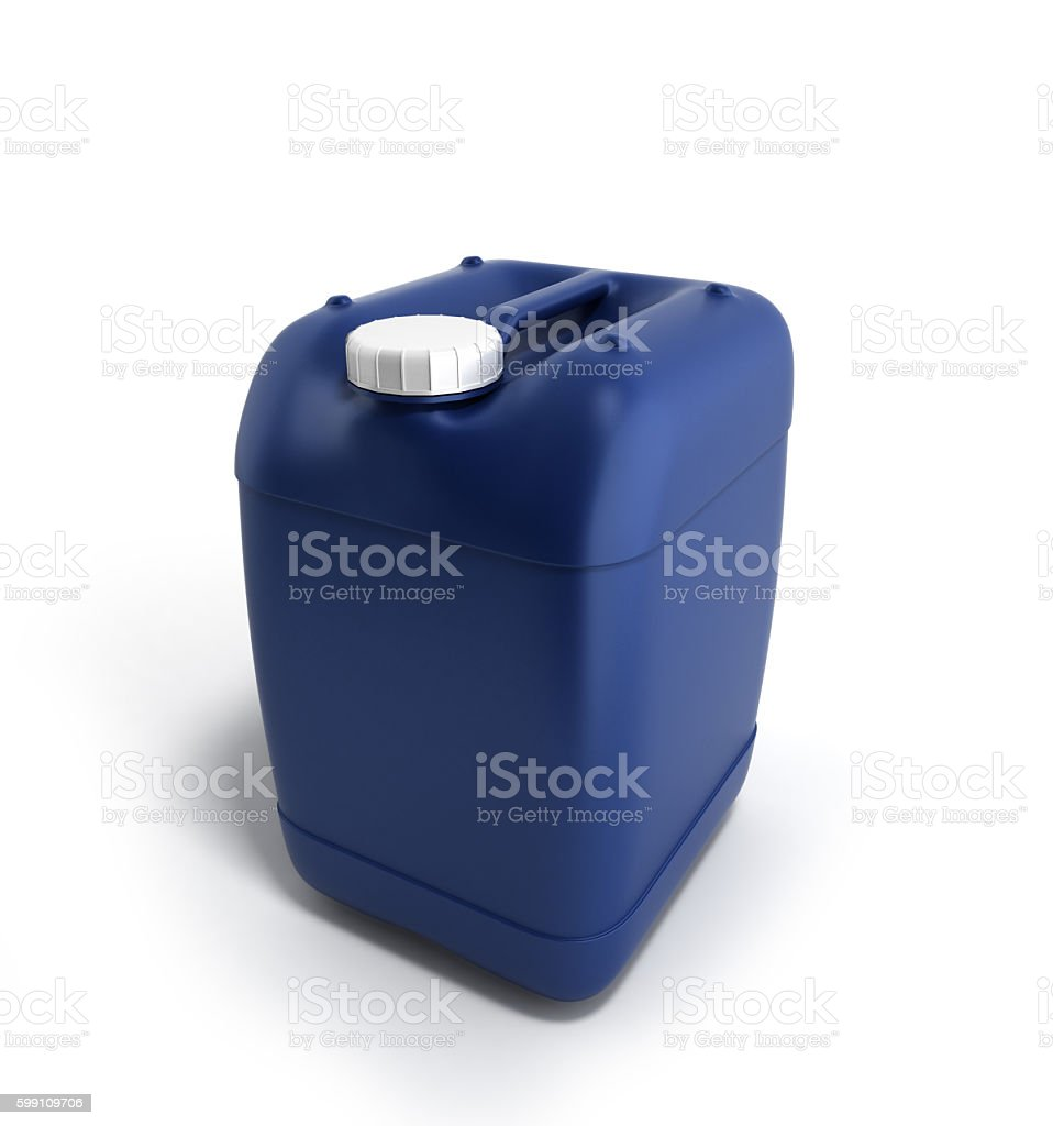 Blue plastic jerrycan 3d illustration on a white background stock photo