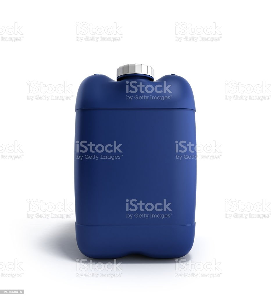 Blue plastic jerrycan 3d illustration on a white stock photo