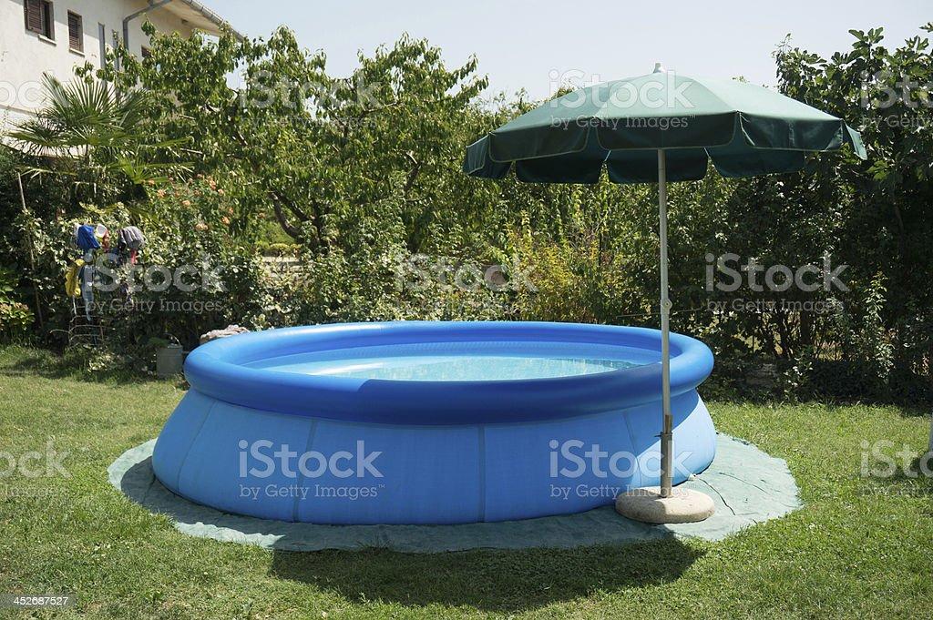 blue plastic pool stock photo