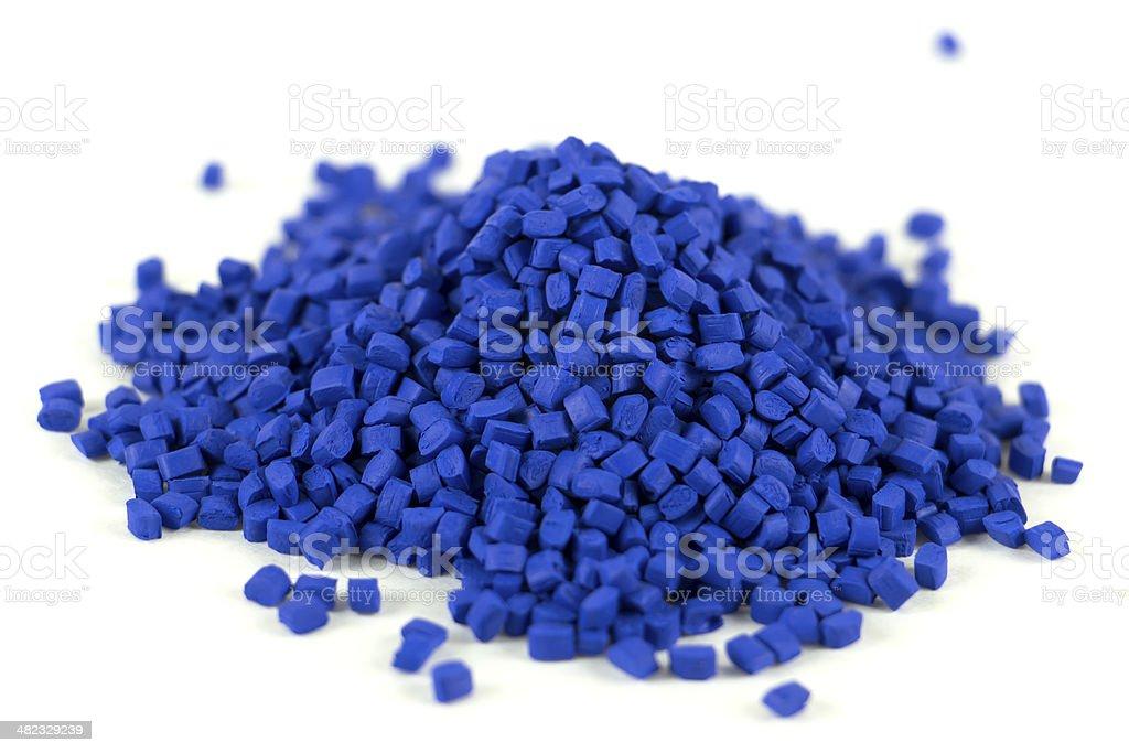 Blue Plastic Resin - small pile stock photo