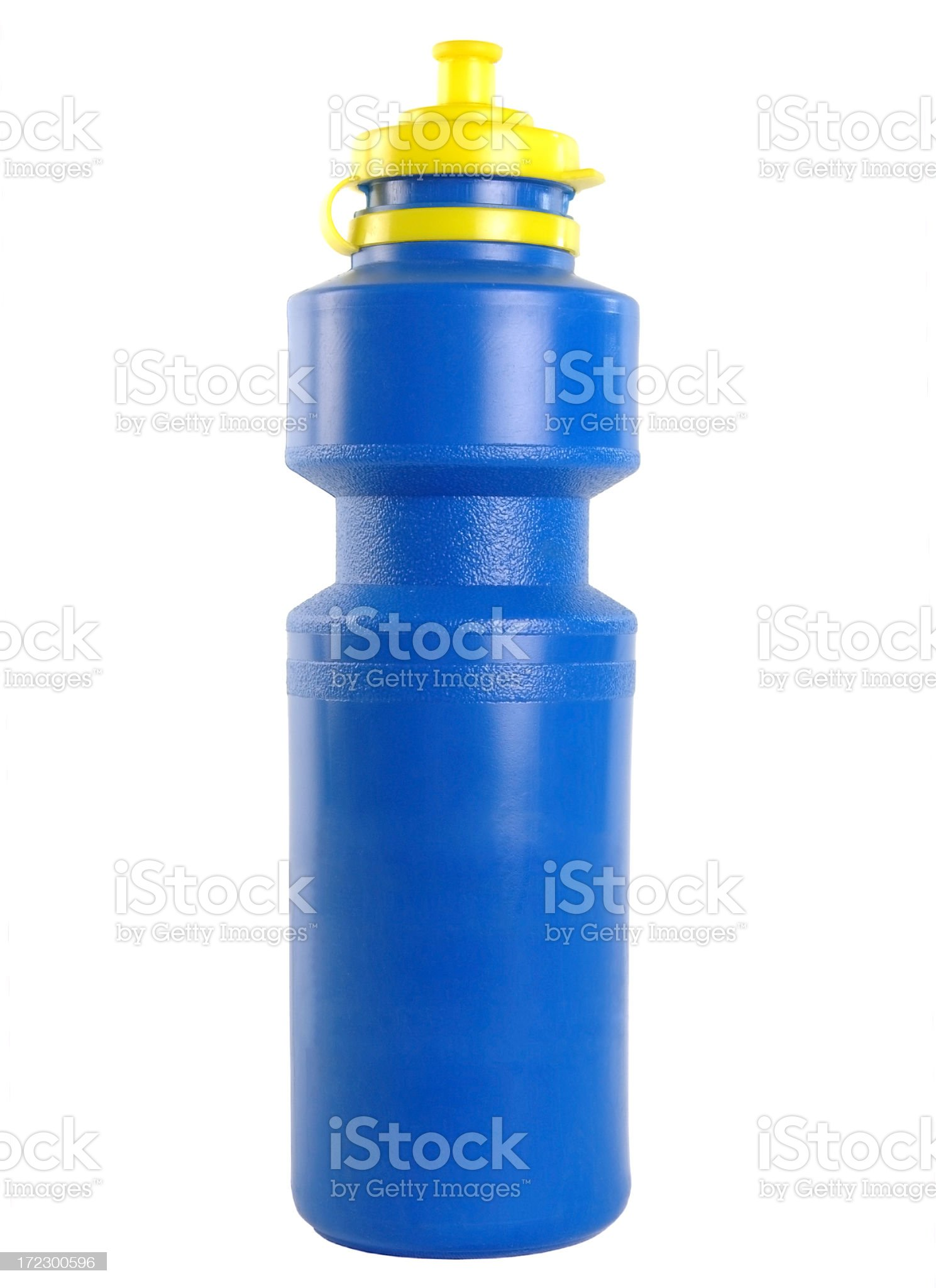 Blue plastic water bottle with a yellow cap royalty-free stock photo