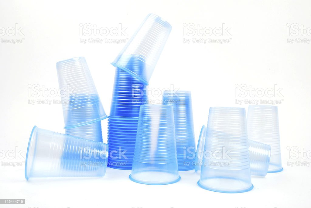 Blue Plastic Water Cups royalty-free stock photo