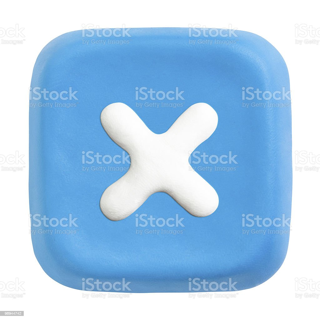 Blue plasticine button with close icon royalty-free stock photo
