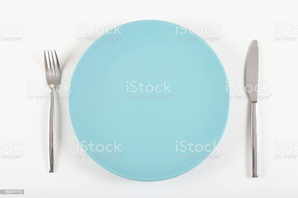 blue plate with fork and knife royalty-free stock photo