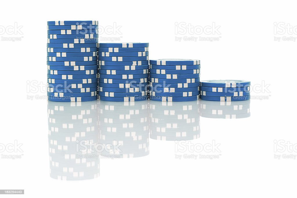 Blue Poker Chips royalty-free stock photo