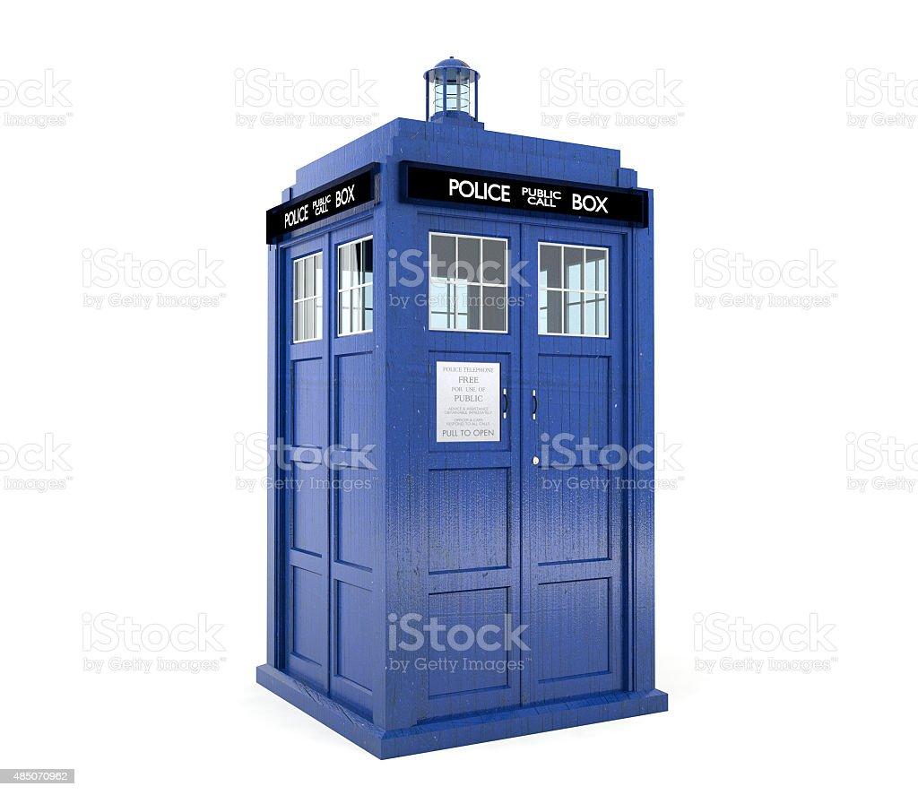 Blue police box stock photo