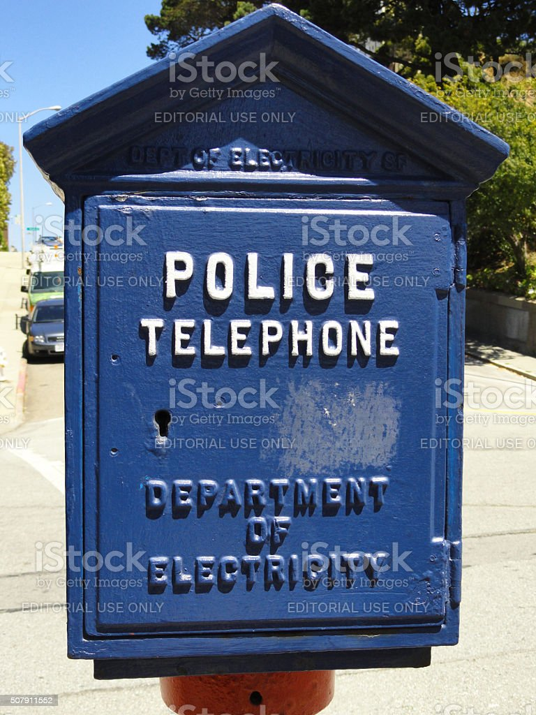 Blue Police Phone Box stock photo