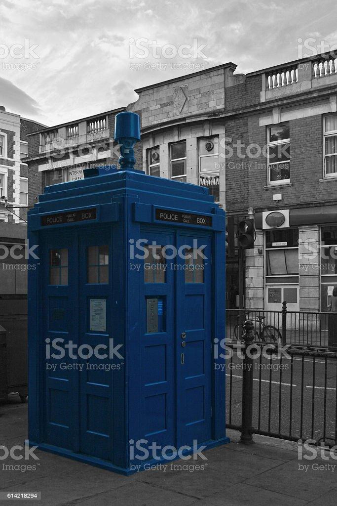 Blue Police Public Call Box stock photo