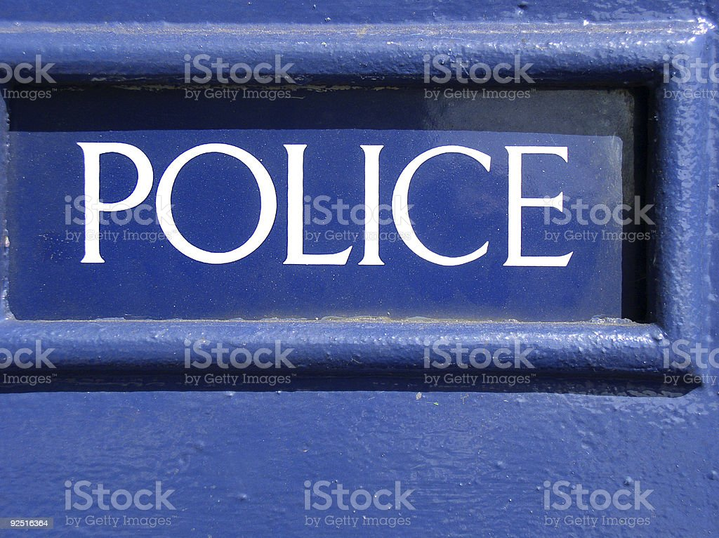 Blue police sign royalty-free stock photo
