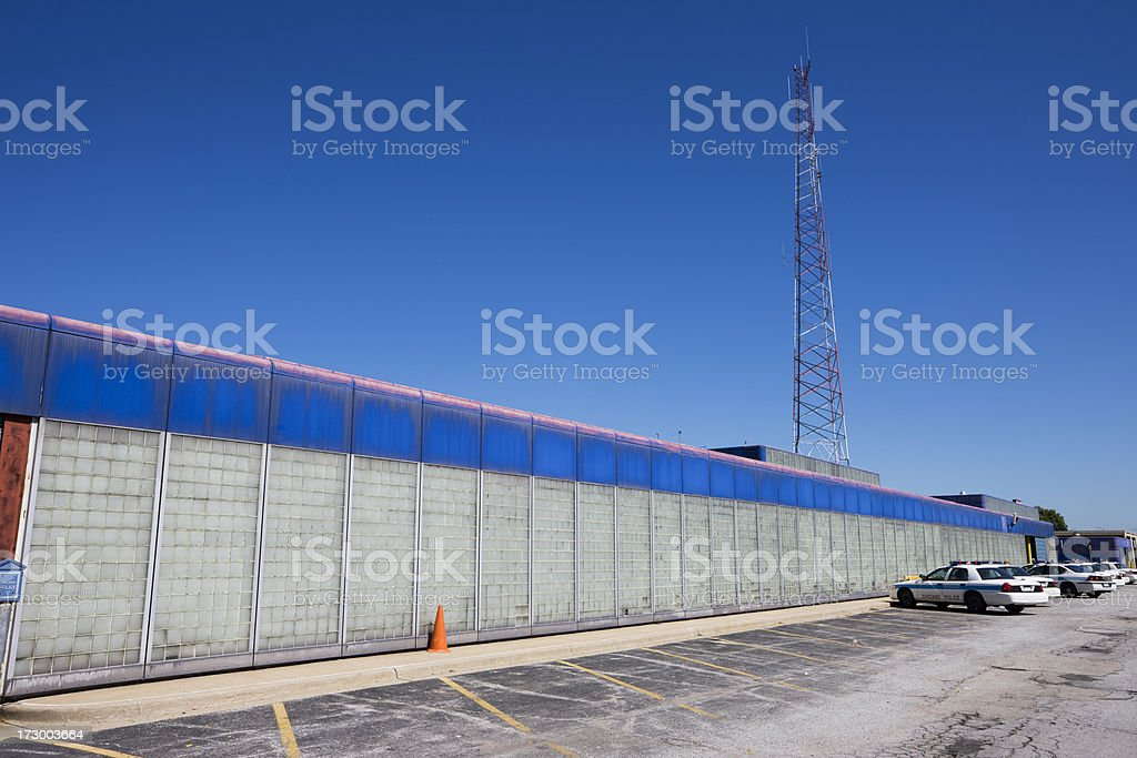 Blue Police Station in Pullman, Chicago royalty-free stock photo