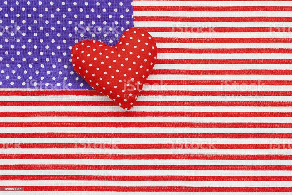 Blue polka dots, Red white Striped Fabrics and Heart royalty-free stock photo