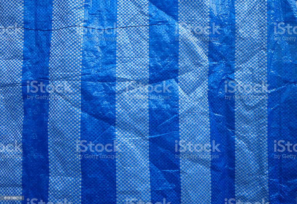 Blue polyester fabric surface. stock photo