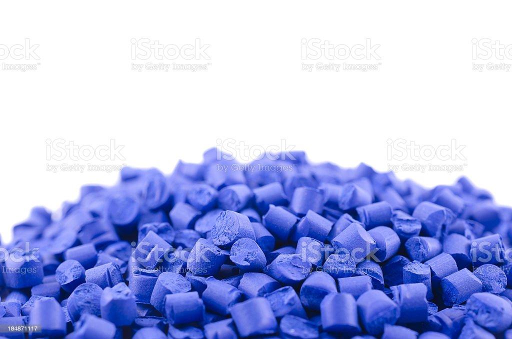 Blue polymer granules stock photo