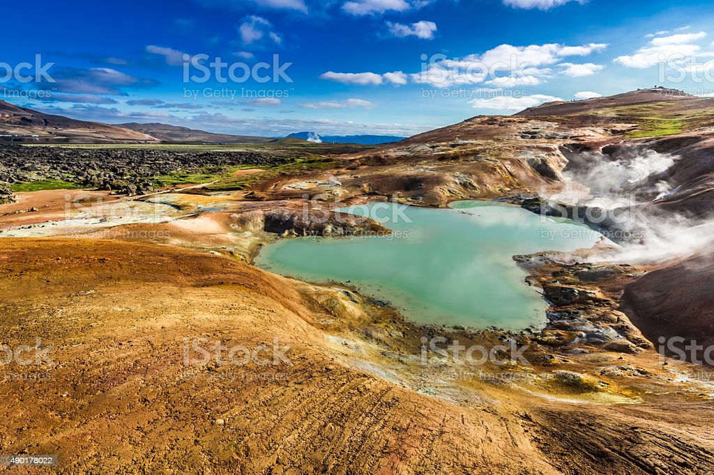 Blue pond on a volcanic mountain in Iceland stock photo