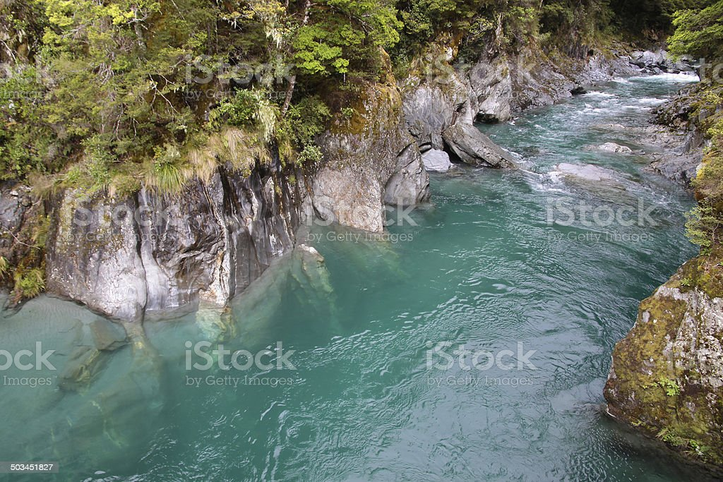 Blue pools near Haast Pass stock photo