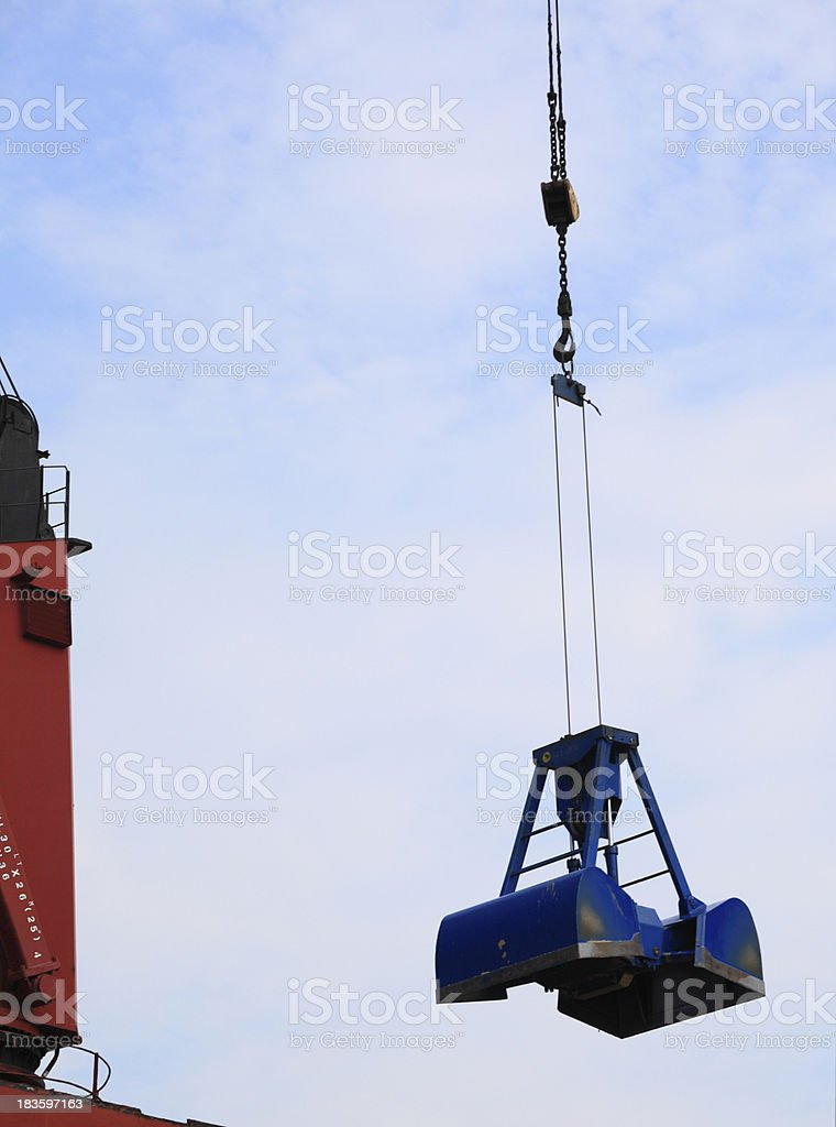 blue port crane terminal seaport stock photo