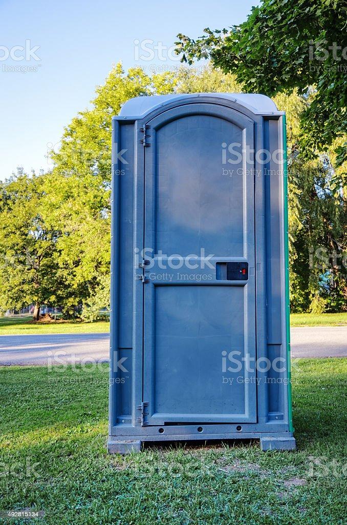 Blue Portable Toilet stock photo