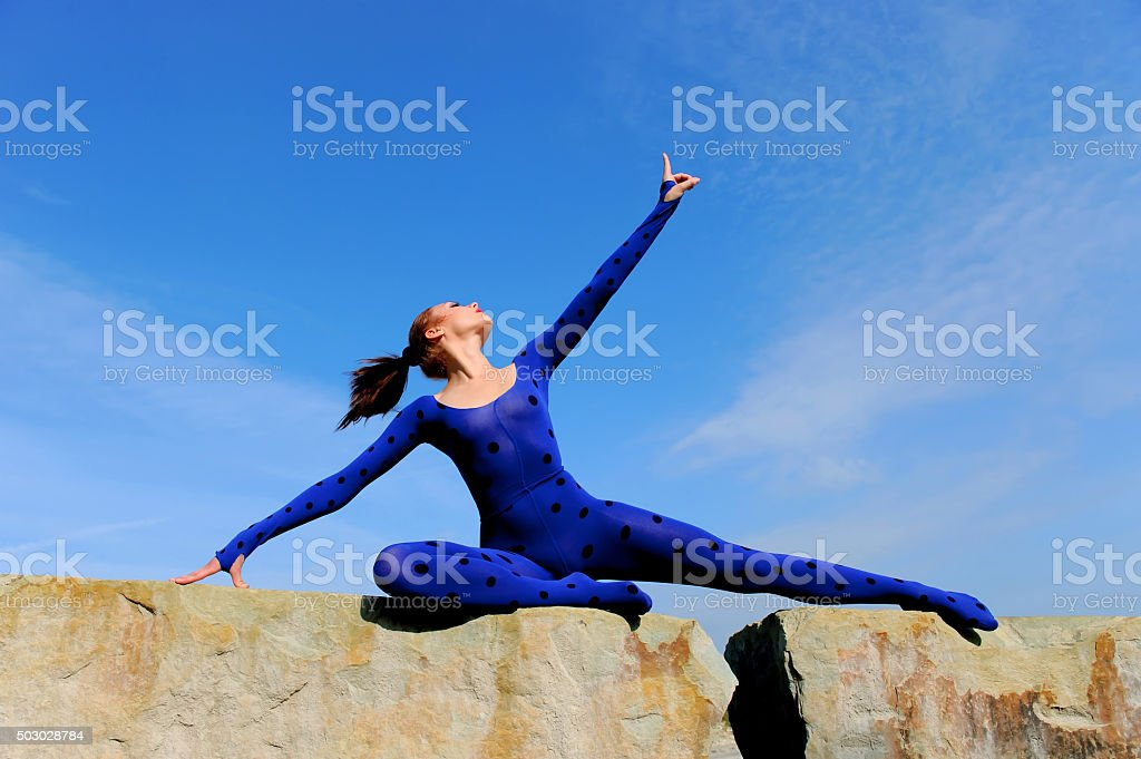 Blue Posing Beauty two stock photo