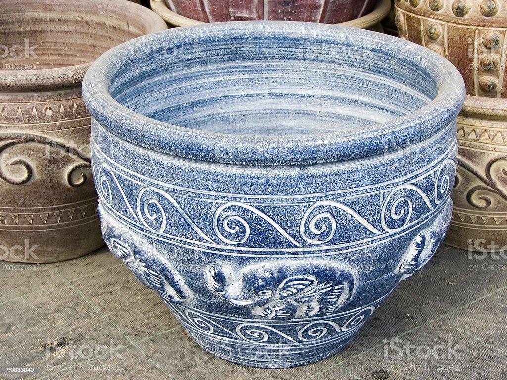 Blue pot royalty-free stock photo