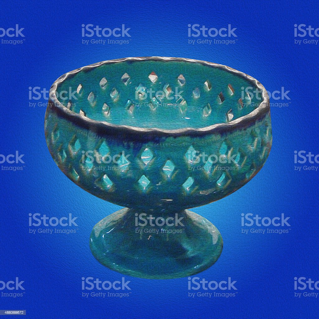 blue pottery dish stock photo
