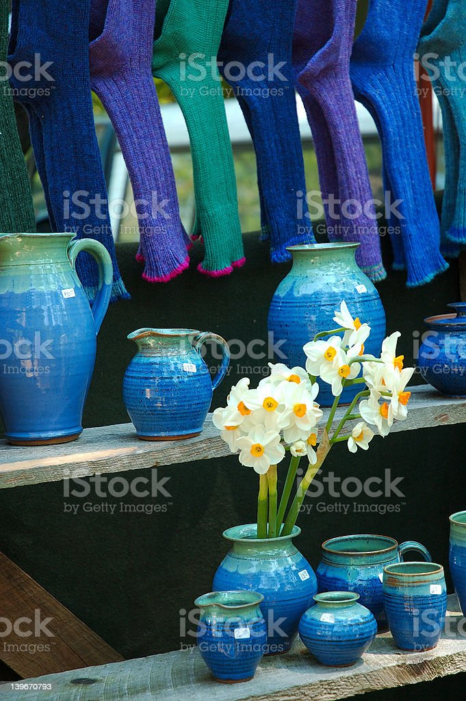 Blue Pottery with Daffodils royalty-free stock photo