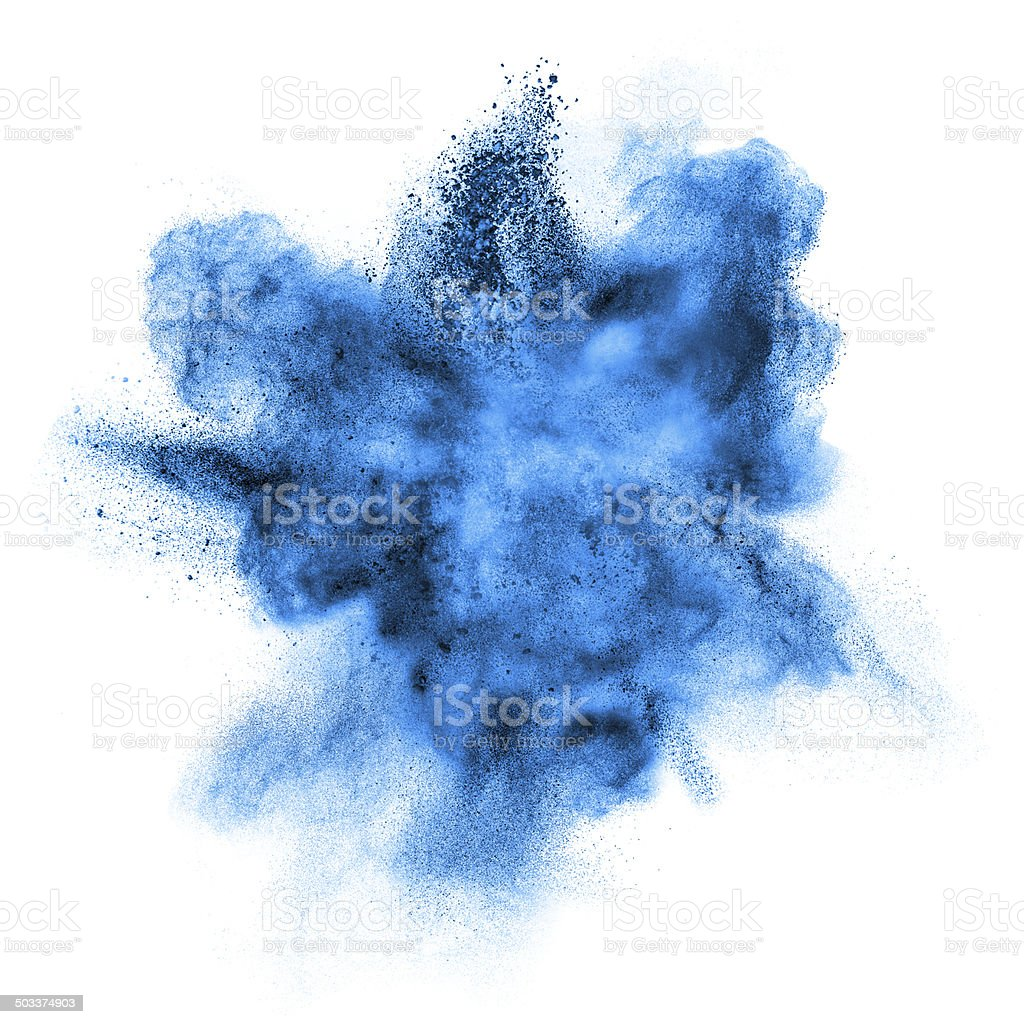 blue powder explosion isolated on white stock photo