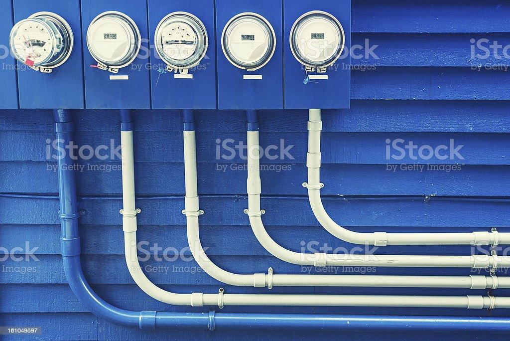 Blue Power Meters stock photo