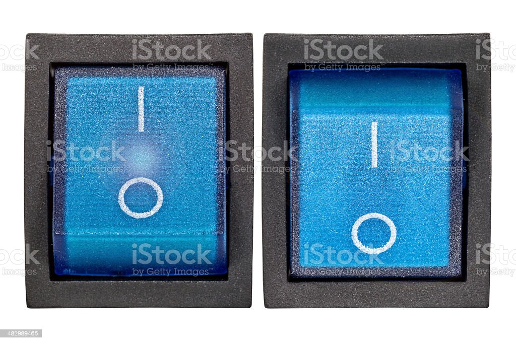 Blue power switch on/off royalty-free stock photo