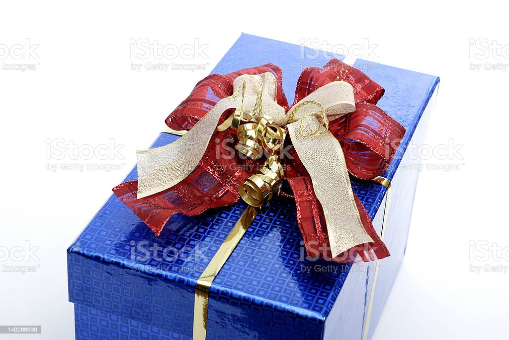 Blue Present With Bows royalty-free stock photo