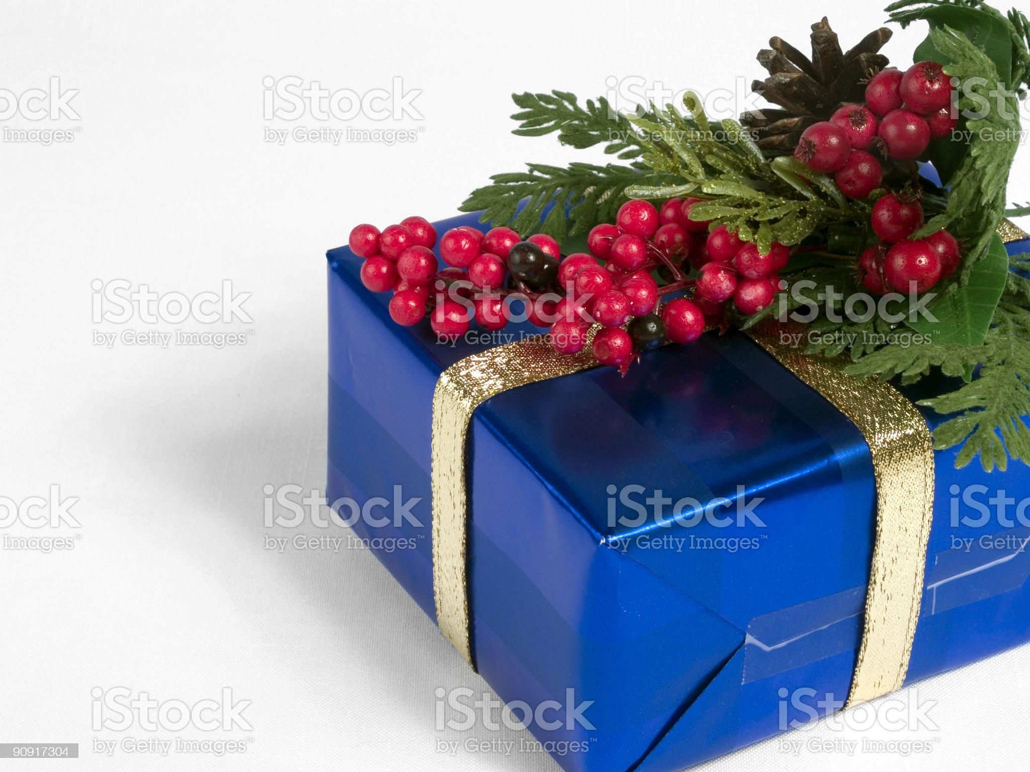 Blue Present with Mistletoe royalty-free stock photo