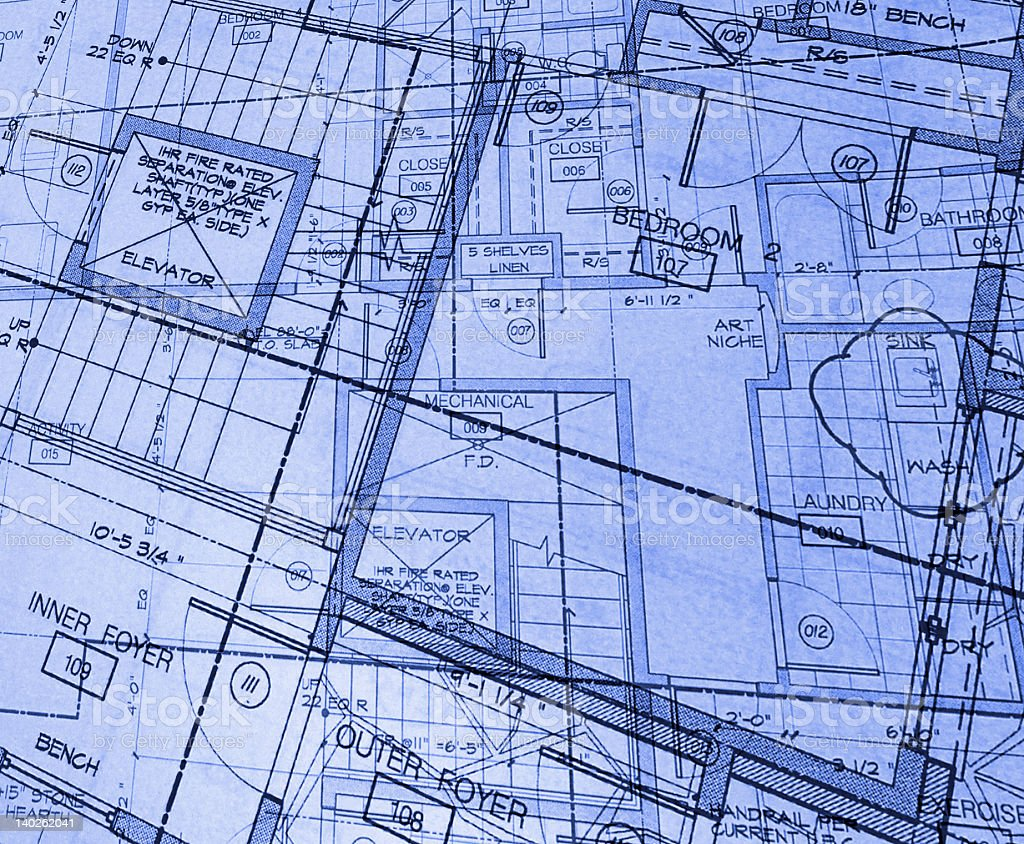 A blue print as an abstract plan stock photo
