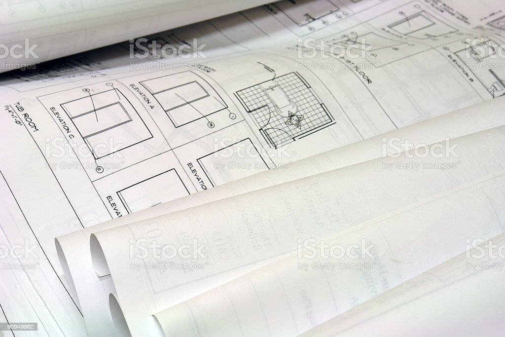 Blue Print Building Plans royalty-free stock photo