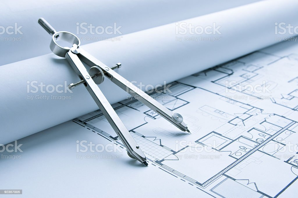 Blue Print Floor Plans with Drawing Compass stock photo