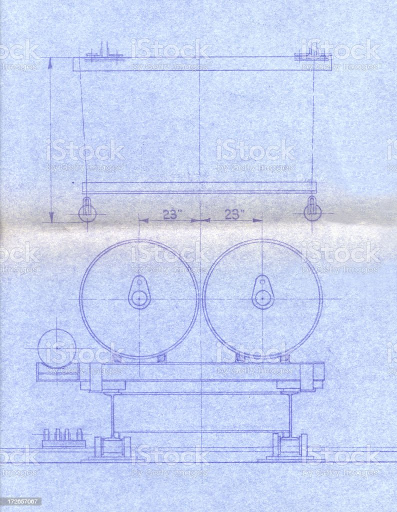Blue print with machine part royalty-free stock photo