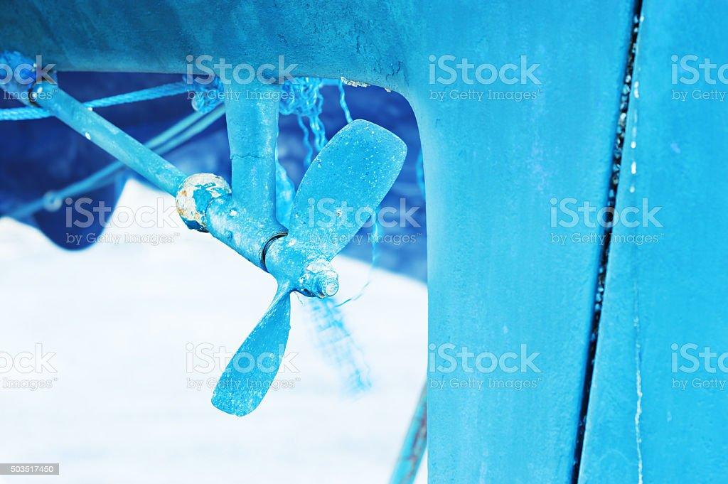 Blue propeller stock photo