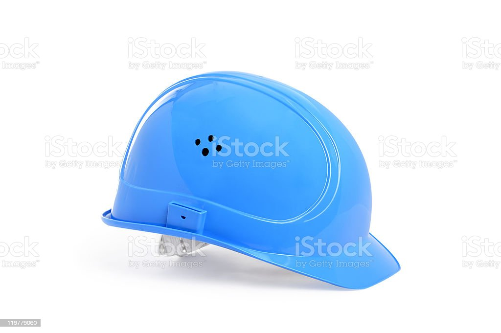 blue protection helmet stock photo