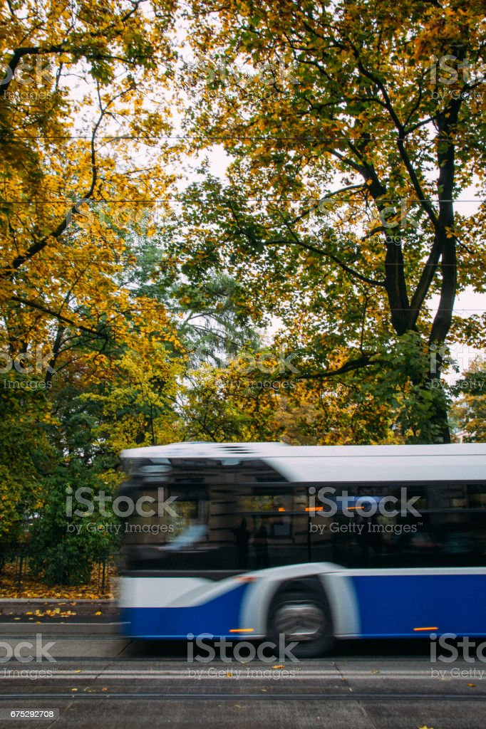A blue public bus moves across the frame down the street with trees and foliage in the background in autumn. Abstract, motion blur. stock photo