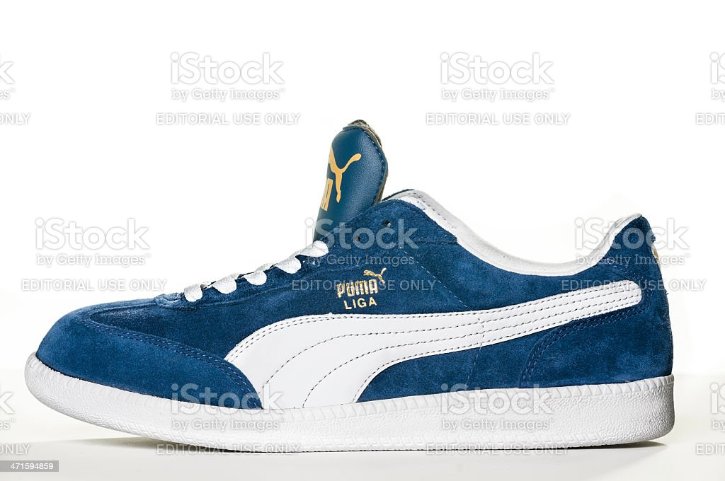Blue Puma Sneaker stock photo