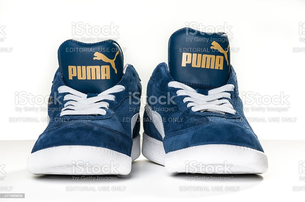 Blue Puma Sneakers stock photo
