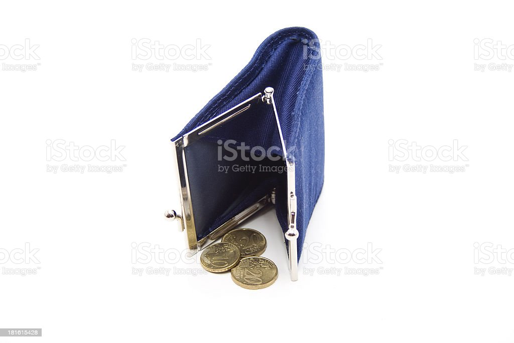 Blue purse with money royalty-free stock photo