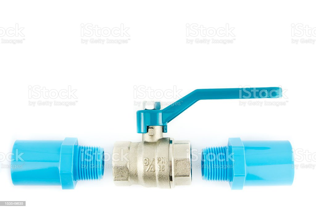 blue pvc pipe connection with valve royalty-free stock photo