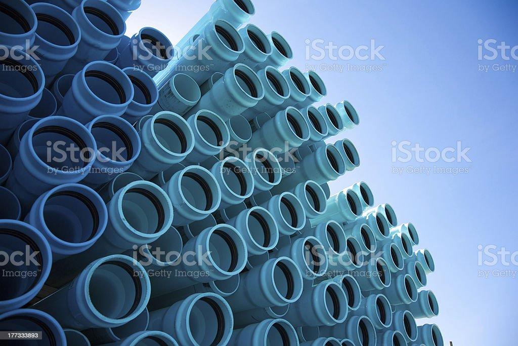Blue PVC Pipe stock photo