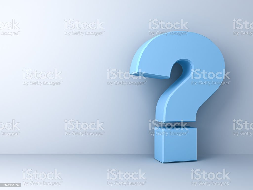 Blue question mark stock photo