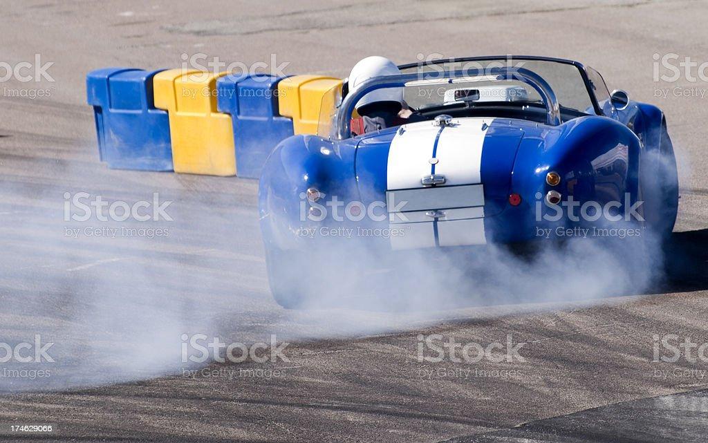 Blue race car stock photo