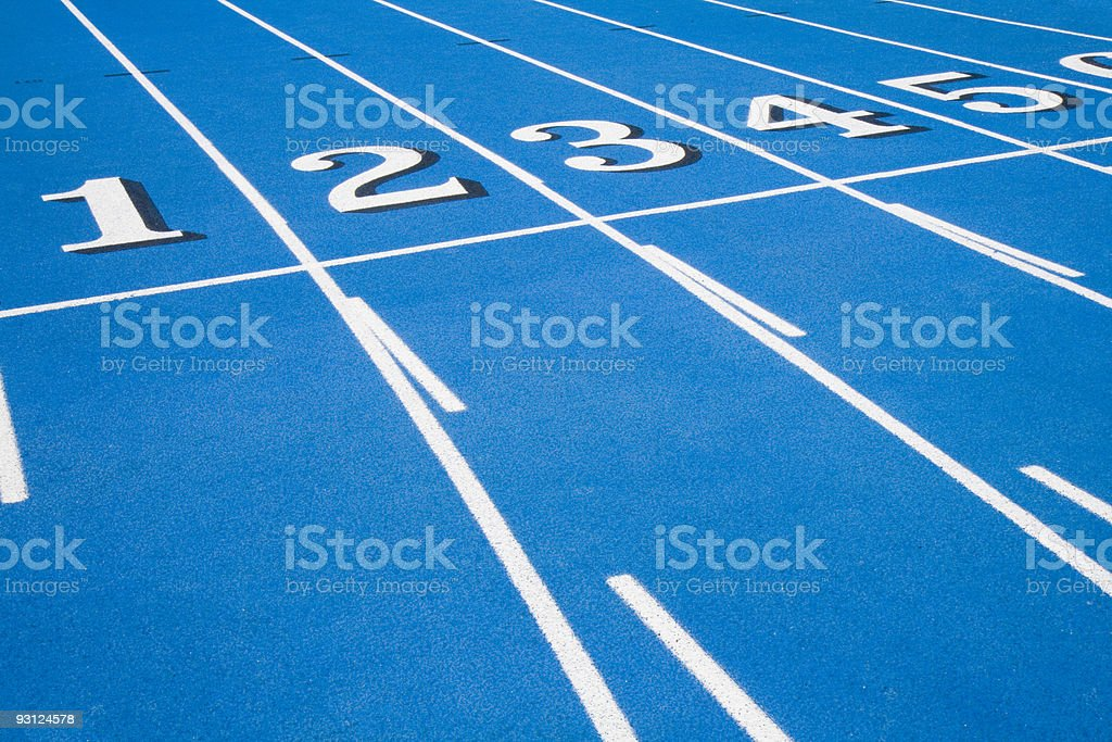 Blue RaceTrack Starting Line royalty-free stock photo